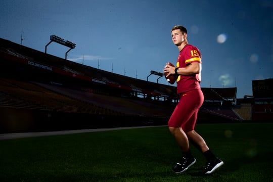 Sophomore quarterback Brock Purdy poses for a photo at Iowa State football's media day on Thursday, Aug. 1, 2019, in Ames.