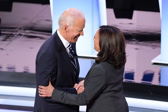AFP_1J87ZG.jpg Democratic presidential hopefuls former Vice President Joe Biden (L) and US Senator from California Kamala Harris greet each other ahead of the second round of the second Democratic primary debate of the 2020 presidential campaign season hosted by CNN at the Fox Theatre in Detroit, Michigan on July 31, 2019. (Photo by Jim WATSON / AFP)JIM WATSON/AFP/Getty Images