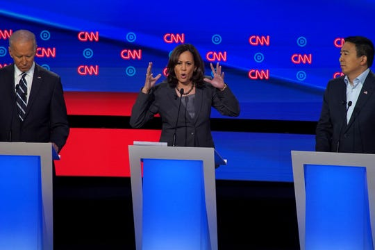Democratic presidential candidate U.S. Sen. Kamala Harris of California says her final statements on the second night of the Democratic presidential debates at the Fox Theatre in Detroit on Wednesday, July 31, 2019.