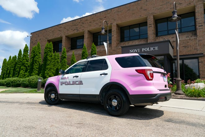 Novi's new police car in pink, debuting Aug. 2, 2019, aims to raise donations to aid breast-cancer patients.