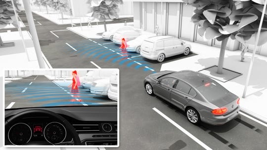 Volkswagen is promoting its pedestrian monitoring system.