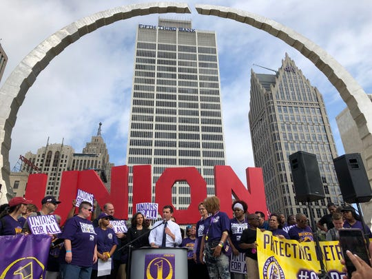 Presidential candidate Pete Buttigieg discussed his plans to strengthen workers' ability to organize at a union rally at Hart Plaza July 31, 2019.