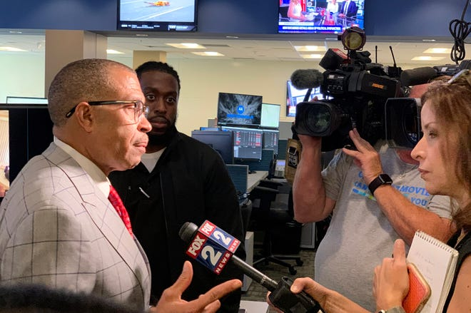 Detroit Police Chief James Craig and a crime analyst explains how the department's facial recognition software is used during a media tour on Thursday, July 25, 2019.