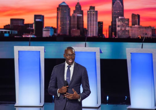 Michigan Lt. Governor Garlin Gilchrist speaks before the second night of the Democratic presidential debates at the Fox Theatre in Detroit on Wednesday, July 31, 2019.