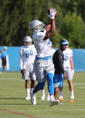 Lions receiver Chris Lacy catches a pass  during practice during training camp on Thursday, August 1, 2019, in Allen Park.