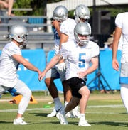 Detroit Lions kicker Matt Prater stretches during training camp Thursday, August 1, 2019 in Allen Park, Mich.