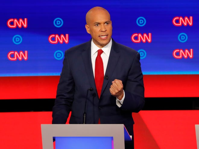 Sen. Cory Booker, D-N.J., participates in the second of two Democratic presidential primary debates.
