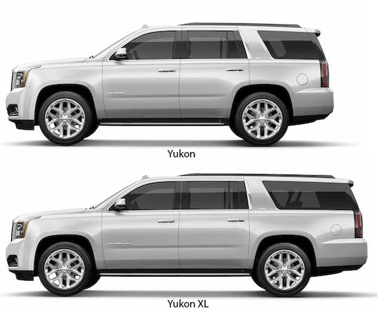 The standard Yukon has an overall length of 203.9 inches with 15.3 cu. ft. behind the 3rd row. The Yukon XL is 224.4 inches overall with 39.3 cu. ft. behind the 3rd row.