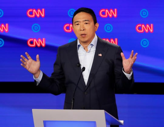 Andrew Yang participates in the second of two Democratic presidential primary debates.