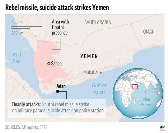 Rebel missile attack, suicide bombs kill 51 in Yemen's Aden.;