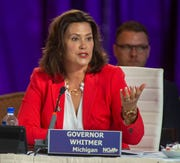 In this July 26, 2019, file photo, Michigan Gov. Gretchen Whitmer speaks during a session at the National Governor's Association conference in Salt Lake City.