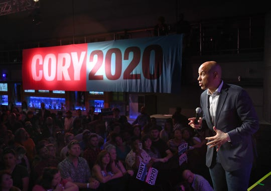 """Democratic presidential candidate and U.S. Sen. Cory Booker of New Jersey speaks at a """"Detroit Rise"""" event at Saint Andrews Hall Thursday in Detroit."""