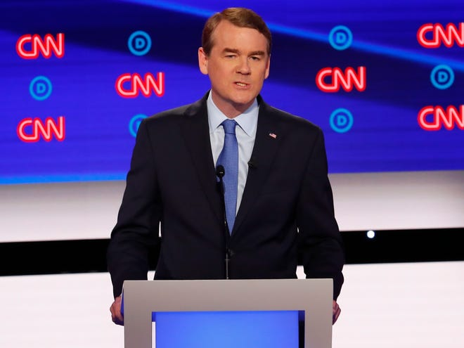 Sen. Michael Bennet, D-Colorado, participates in the second night of debates in Detroit.