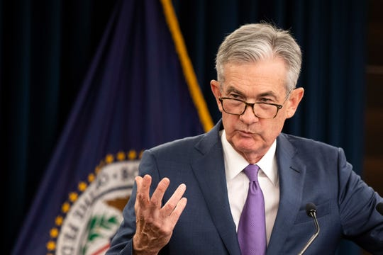 Federal Reserve Chairman Jerome Powell speaks during a news conference following a two-day Federal Open Market Committee meeting in Washington, Wednesday, July 31, 2019. The Federal Reserve cut its key interest rate for the first time in a decade to try to counter threats ranging from uncertainties caused by President Donald Trump's trade wars to chronically low inflation and a dim global outlook.