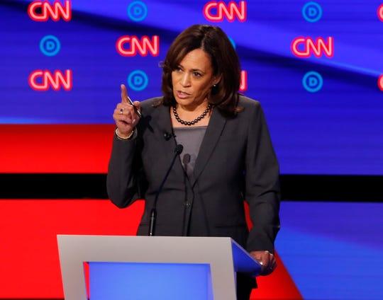 Sen. Kamala Harris, D-Calif., participates in the second of two Democratic presidential primary debates.