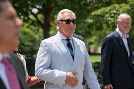 Roger Stone leaves federal court in Washington, Tuesday, July 16, 2019. Stone's request to dismiss charges of witness tampering, obstructing an investigation and lying to Congress was denied Thursday when the judge in the case found his reasons unpersuasive.