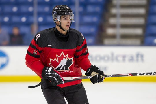 Red Wings draft pick Joe Veleno has a goal and an assist in one game with Canada at the World Junior Summer Showdown.