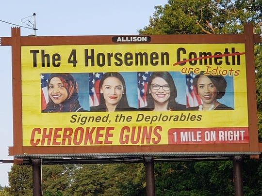 The billboard placed in Murphy, North Carolina, by Cherokee Guns.