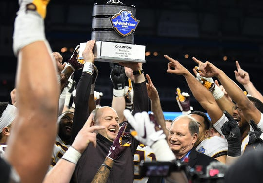 Minnesota head coach P.J. Fleck led the Golden Gophers to a victory in the Quick Lane Bowl in 2018.