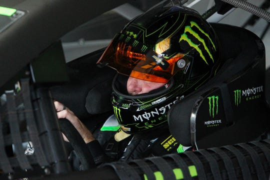 Kurt Busch sits in his car during practice for the Gander RV 400 at Pocono Raceway on July 27, 2019.
