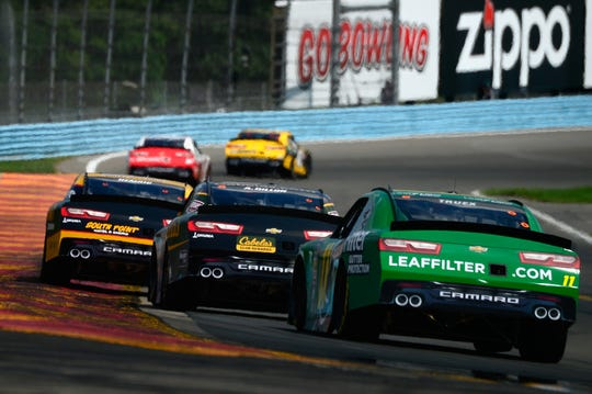 Ryan Truex, driver of the No. 11 Leaf Filter Chevrolet, follows a pack of cars during the NASCAR Xfinity Series Zippo 200 at The Glen at Watkins Glen International on August 4, 2018.