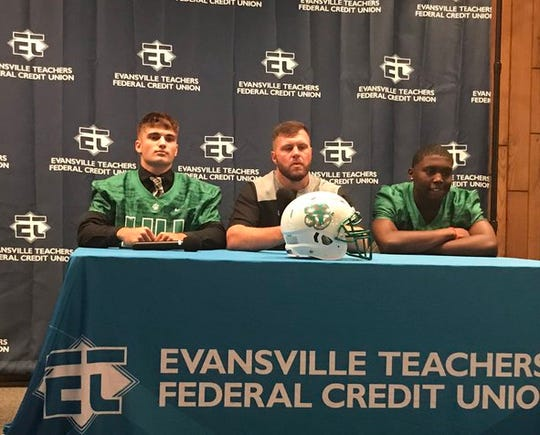 Tanner Jackson, Joey Paridaen and JT Skinner speak during the 2019 High School Football Media Day.