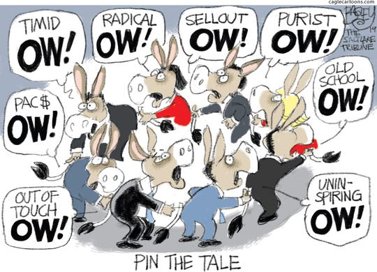 Democrats play pin the tale.