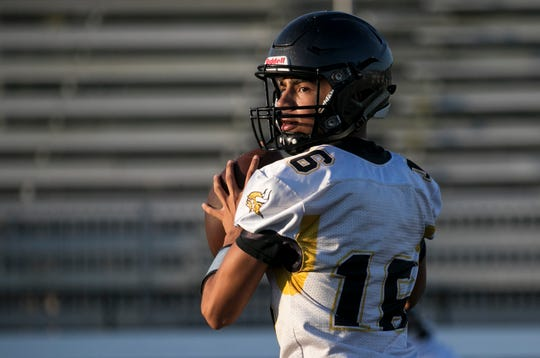 Bishop Verot quarterback Jacob Azizi practices with his teammates on Thursday, August 1, 2019, in Fort Myers.