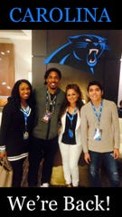 Tre Boston with his family, from left, wife Cierra, mother Iris De Hoyos and brother Ethan, during Super Bowl week in February 2015. Boston played in Super Bowl 50 with the Carolina Panthers after the 2014 season. He signed a one-year contract with the Panthers on Thursday after two seasons away.