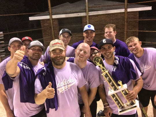 The Sidekicks Bar & Grill softball team in De Pere submitted this photo in their infamous lilac gear to help make their case in the Busch beer contest.