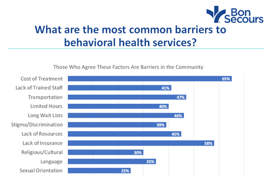 The lack of mental health access is one of the issues identified in the Community Health Needs Assessment.