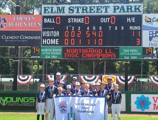 The Northwood Little League Majors U-11 team defeated Virginia, 11-3, to win the Southeast Regional championship at the Tournament of State Champions held in Greenville, North Carolina.