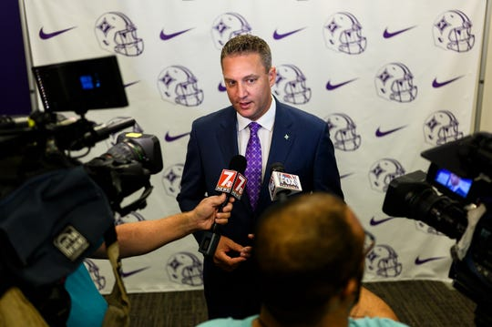 Furman University's new athletic director Jason Donnelly speaks with the press at the Pearce Horton Football Complex Thursday, Aug. 1, 2019.