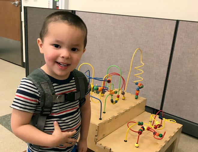 This undated photo provided by the FBI shows 2-year-old Aiden Salcido, who authorities were searching in Montana. Police in Medford, Oregon, said Sunday, July 28, 2019, that Montana authorities have found a body believed to be that of the missing Oregon child. The boy's parents were found dead Wednesday in Kalispell, Mont. (FBI via AP)