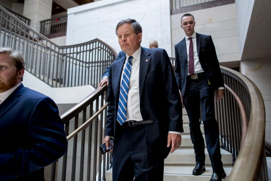 FILE - In this July 10, 2019 file photo Sen. Steve Daines, R-Mont., arrives for a closed door meeting for Senators on election security on Capitol Hill in Washington. Senators from California and Montana said Thursday, Aug. 1. 2019, they plan to introduce a bipartisan bill that aims to protect communities from wildfires like the one that killed 85 people and destroyed much of the Northern California town of Paradise last year.  AP Photo/Andrew Harnik,File)