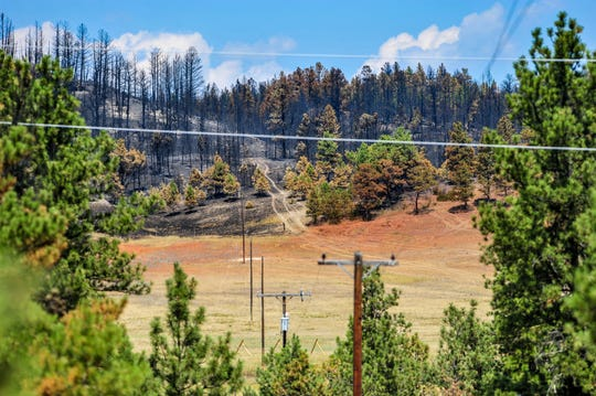 A red band of fire retardant marks part of the southern edge of the North Hills Fire, which has burned nearly 5,000 acres north of Helena as of Thursday morning, August 1, 2019.