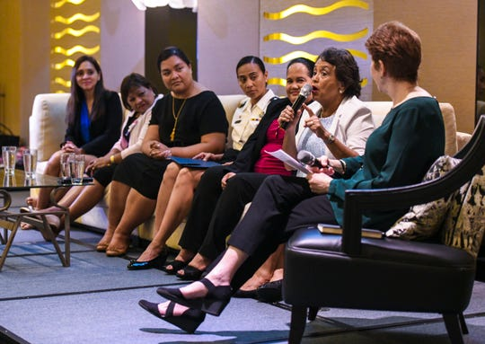 """Gov. Lou Leon Guerrero offers advice on having a solid marketing and financial plan, to those planning to enter into the world of business, as she addresses members and others during the Guam Women's Chamber of Commerce's """"At the Table with Guam's Women Leaders in Government"""" at the Dusit Thani Guam Resort on Thursday, Aug. 1, 2019."""