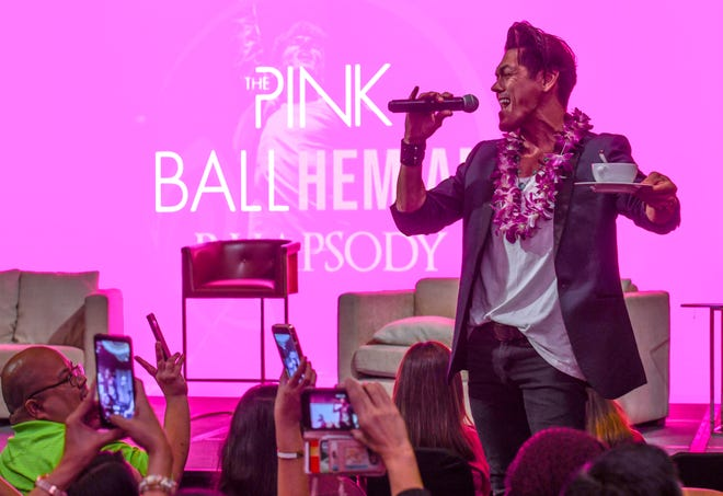 Filipino-Australian singer, Mig Ayesa, offers a sample performance during a Pink Ball press conference at the Dusit Thani Guam Resort in Tumon on Thursday, Aug. 1, 2019. The theme of this year's black tie fundraiser is The Pink Ballhemian Rhapsody, scheduled for this Saturday, Aug. 3. Ayesa will be performing at the benefit event to help riase funds for the Harvest House, an organization that assists the local orphans community.