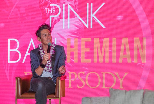 Filipino-Australian singer, Mig Ayesa, speaks during a Pink Ball press conference at the Dusit Thani Guam Resort in Tumon on Thursday, Aug. 1, 2019. The theme of this year's black tie fundraiser is The Pink Ballhemian Rhapsody, scheduled for this Saturday, Aug. 3. Ayesa will be performing at the benefit event to help riase funds for the Harvest House, an organization that assists the local orphans community.