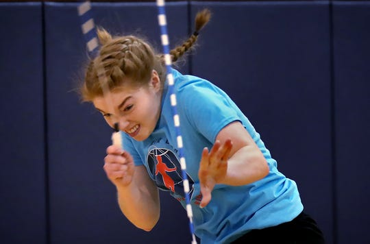 Indy Air Bears jumper Elise McQueen practices for world competition, Wednesday, June 12, 2019. The performance-based team competes locally, nationally and internationally. In July 2019, 12 members of the team, including McQueen, traveled to Oslo, Norway, to compete in the World Jump Rope Championship.