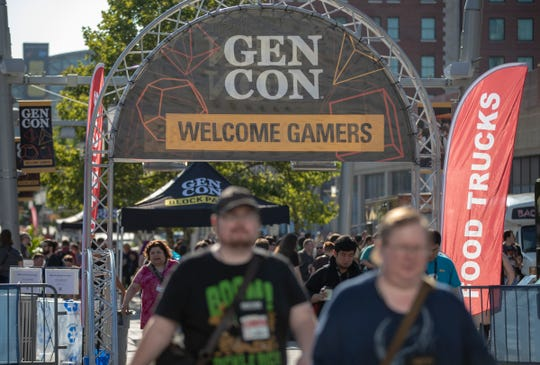 A food truck area on Georgia Street on the opening day of Gen Con, at the Indiana Convention Center, Indianapolis, Thursday, Aug. 1, 2019.