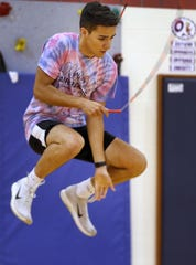 Indy Air Bears jumper Eric Hinojosa practices for world competition, Wednesday, June 12, 2019.  The performance-based team competes locally, nationally and internationally.  In July 2019, 12 members of the team, including Hinojosa, will travel to Oslo, Norway, to compete in the World Jump Rope Championship.