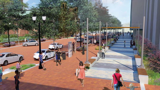 A portion of East Market Street in Downtown Indianapolis could be closed for half of 2020. Here's what that section of the street — between North Delaware and North Alabama streets — is expected to look like when construction is finished.