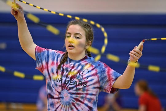Indy Air Bears jumper Allison Taylor practices for world competition, Wednesday, June 12, 2019.  The performance-based team competes locally, nationally and internationally. In July 2019, 12 members of the team, including Taylor, traveled to Oslo, Norway, to compete in the World Jump Rope Championship.