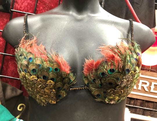 The peacock feathers are glued one by one onto this bra, available at the Bard and Broad booth for $135.