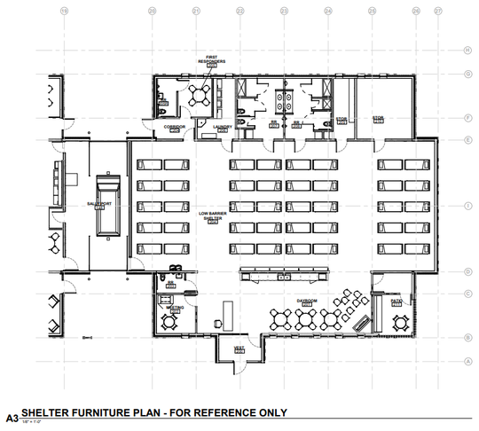 Neumann Monson Architects submitted design plans for the Behavioral Health and Urgent Care Access Center to the Johnson County Board of Supervisors. This diagram shows how the low barrier shelter might be furnished.