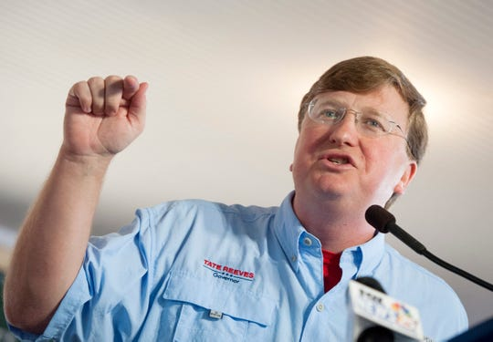 Tate Reeves, Republican candidate for governor, addresses the crowd at the pavilion in Founders Square at the Neshoba County Fair Thursday, Aug. 1, 2019.