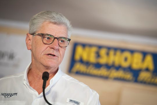 In this 2019 file photo, while addressing the crowd gathered in and around the pavilion in Founders Square at the Neshona County Square, Gov. Phil Bryant speaks of the accomplishments Mississippi has made during his eight-year administration.