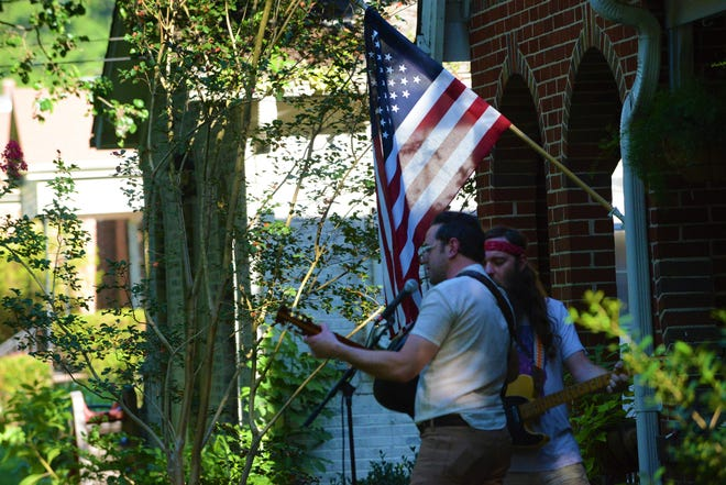 The Kernal's Andrew Combs and Jonny Fritz perform at Porchfest celebrating 731 day in Jackson, Tenn.