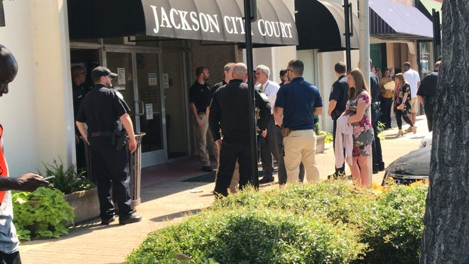 The Jackson city court was cleared out on Thursday after a bomb threat. Court was session at the time of the threat on Aug. 1 in Jackson, Tenn.